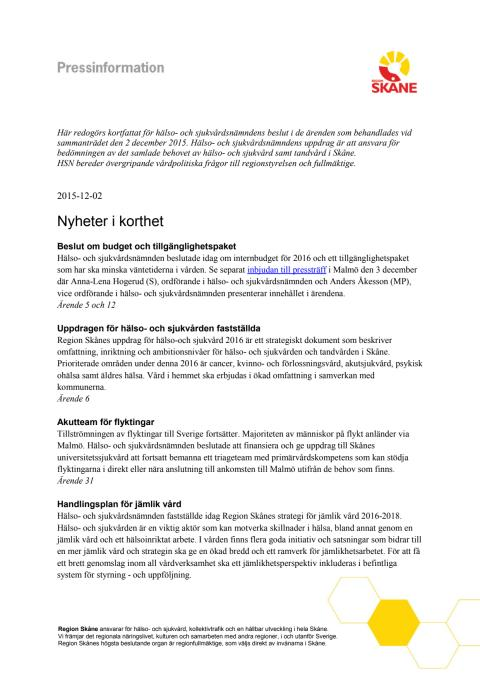 Pressinformation HSN 151202