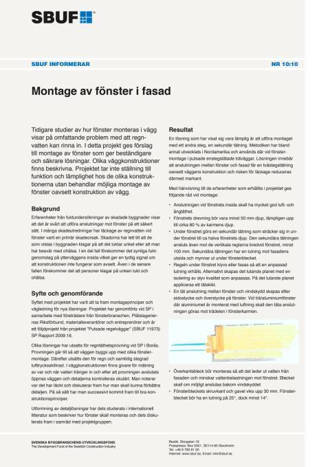 SBUF Informerar, nr. 10-10 - Montage av fönster i fasad