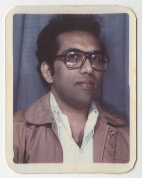 Old photo-booth image of Balakrishnan taken in the 1970s