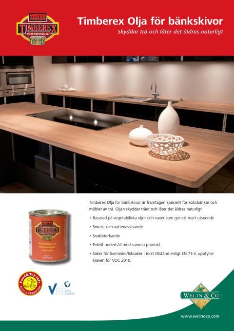 Timberex Olja för bänkskivor produktblad