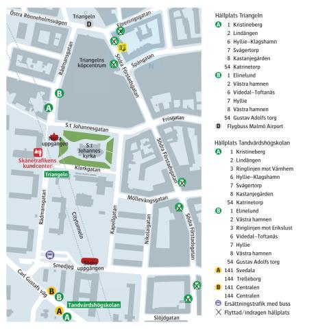 Karta med busstrafik på Triangeln.