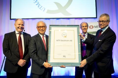 MTR tar emot utmärkelsen Svensk kvalitet 2014