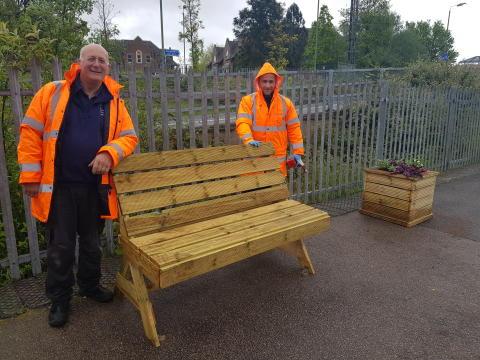 St Albans Garden Day - A seat for passengers: Paul Harknett and Pawel Ceglewski