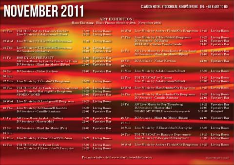 Eventkalender november Clarion Hotel Stockholm