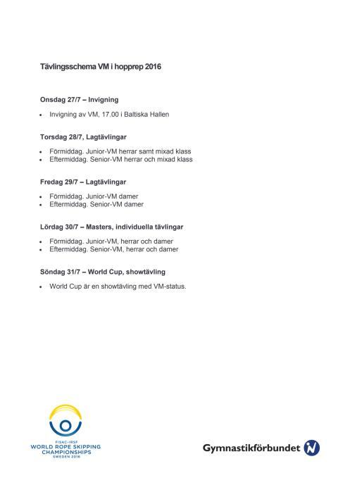 Tävlingsschema VM i hopprep 2016