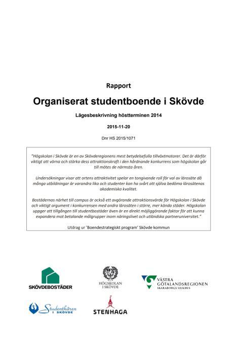 Rapport: Organiserat studentboende i Skövde