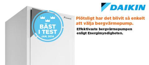 Daikin Bergvärme den effektivaste bergvärmepumpen i energimyndighetens test av bergvärmepumpar