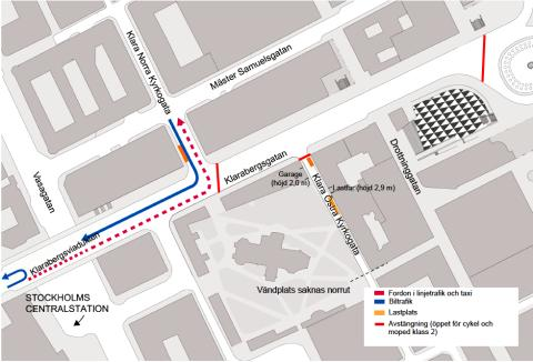 Klarabergsgatan stängs av med bommar för all motorburen trafik