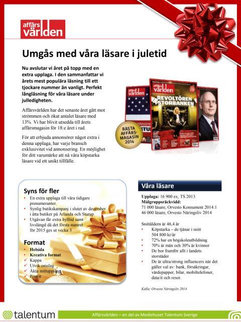 Affärsvärlden - umgås med våra läsare i juletid