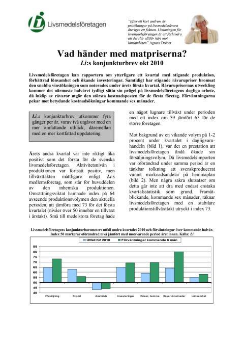 Livsmedelsföretagens konjunkturbrev oktober 2010