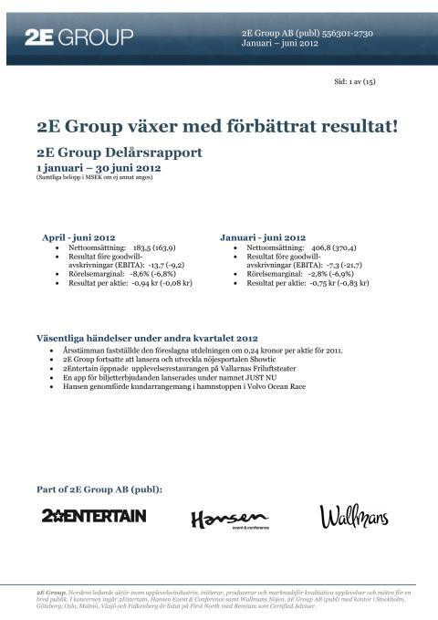 2E Group delårsrapport jan-jun 2012
