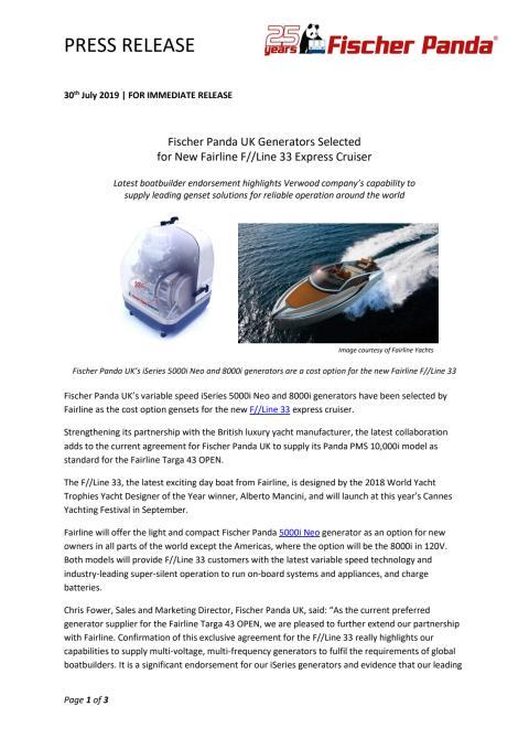 Fischer Panda UK Generators Selected for New Fairline F//Line 33 Express Cruiser