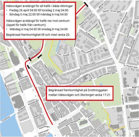 Sista rycket i ombyggnaden av Hälsovägen, Drottninggatan och Järnvägsgatan – så påverkas trafiken