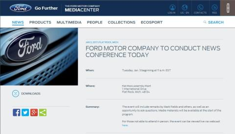 Ford Motor Company to Conduct News Conference Today (kl 17.00, Danmark)