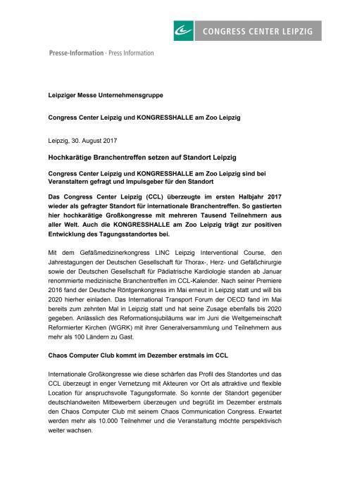 CCL und KONGRESSHALLE im ersten Halbjahr 2017