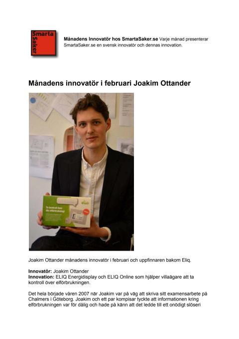 Månadens innovatör i februari Joakim Ottander