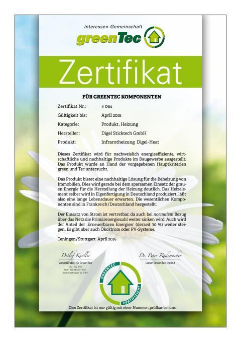 GreenTec-Zertifikat