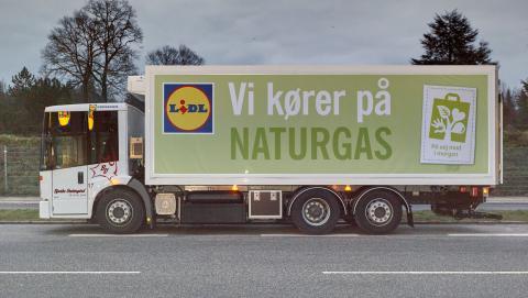 Første gaslastbil til distribution af dagligvarer i Danmark