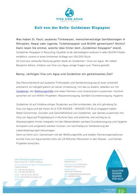Auf ein Wasser mit Benny Adrion: Kult von der Rolle - Goldeimer Klopapier by Viva con Agua