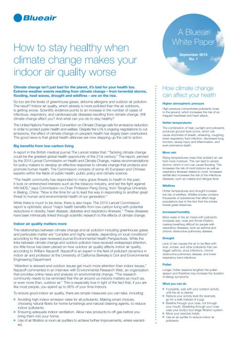 Blueair Publishes New White Paper Helping Consumers Stay Healthy As Climate Change Impacts Indoor Air Quality