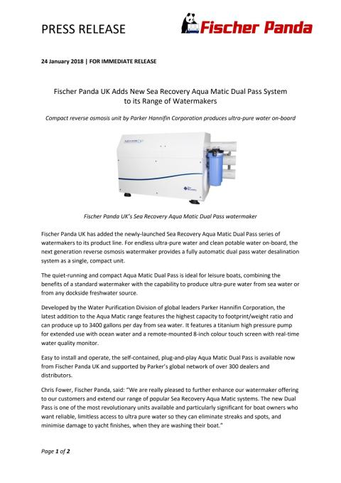 Fischer Panda UK Adds New Sea Recovery Aqua Matic Dual Pass System to its Range of Watermakers