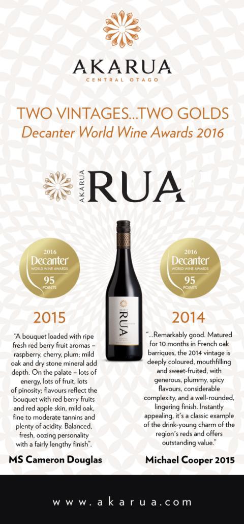 Två årgångar - två guld! Rua Pinot Noir 2014 – sålde fort slut, nu finns 2015 i Sverige!
