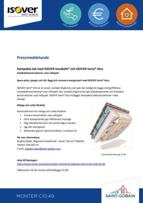Kompakta tak med ISOVER InsulSafe® och ISOVER Vario® Xtra