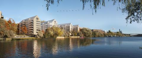 Stockholms första höghus i trä – Skiss av Strandparken i Sundbyberg