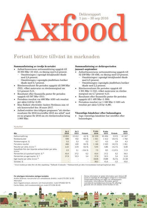 Axfood delårsrapport kv 3 2016