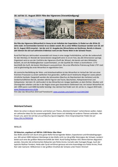 Weinland Schweiz: Inspirationen für individuelle Recherchereisen