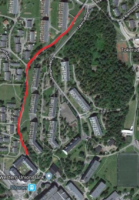 Ny asfalt på gangveien fra Stovner Senter til Vestlibua