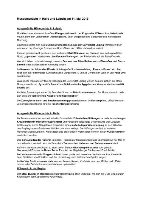 Museumsnacht - Tipps für Leipzig und Halle
