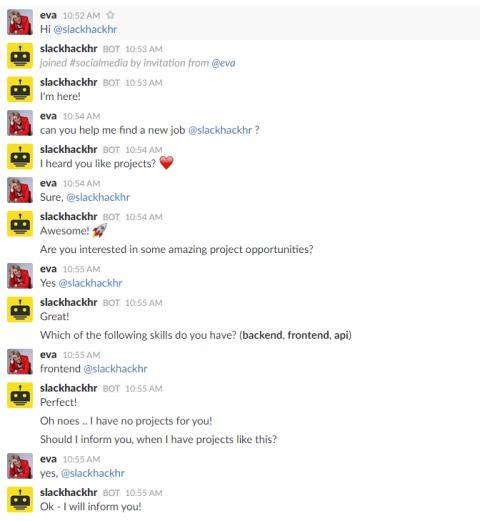 Der Bot antwortet automatisch auf Frage nach neuen Projekten.