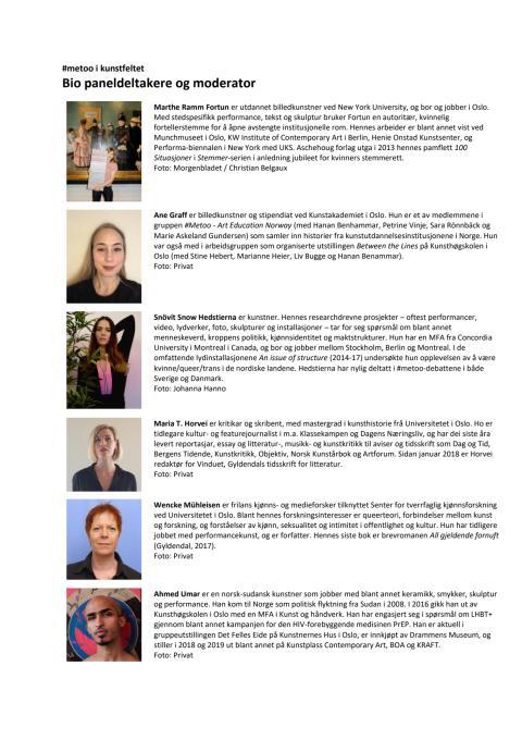 Bio paneldeltakere og moderator