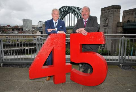 Kevin Carr (left) with Allan Davison who celebrated 45 years service