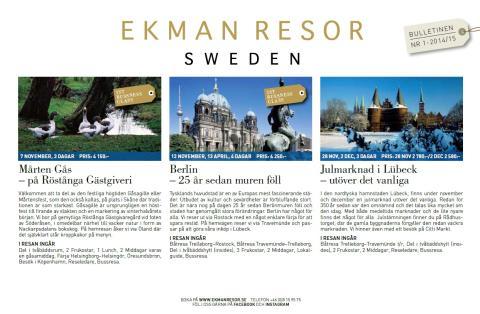 EkmanResor Bulletinen Nr. 1 - 2014/2015 – Njut!