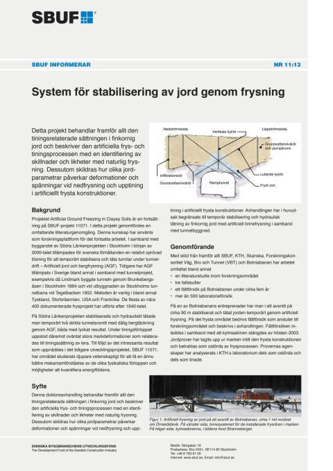 SBUF Informerar, nr. 11-13 System för stabilisering av jord genom frysning