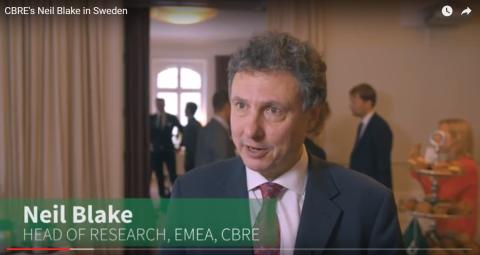 Neil Blake, Head of Research EMEA på CBRE, besökte Sverige