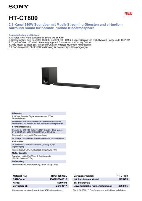 Datenblatt HT-CT800 von Sony