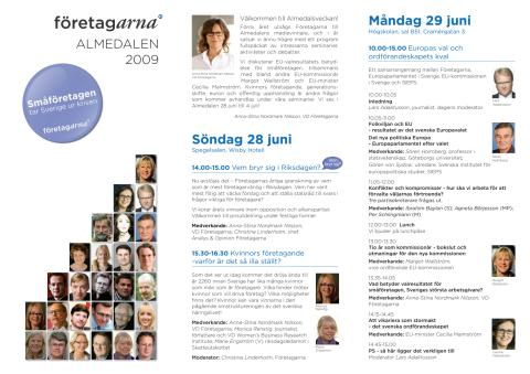 Företagarnas program under Almedalsveckan 2009