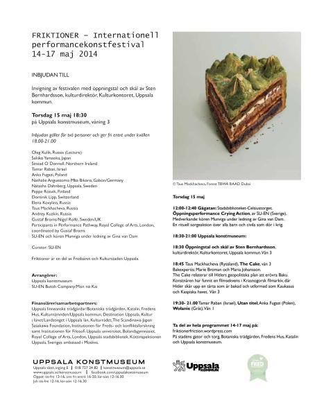 Inbjudan till invigning av Friktioner - Internationell performancekonstfestival 14-17 maj 2014