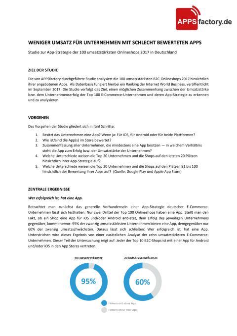 E-Commerce Studie: Weniger Umsatz für Unternehmen mit schlecht bewerteten Apps