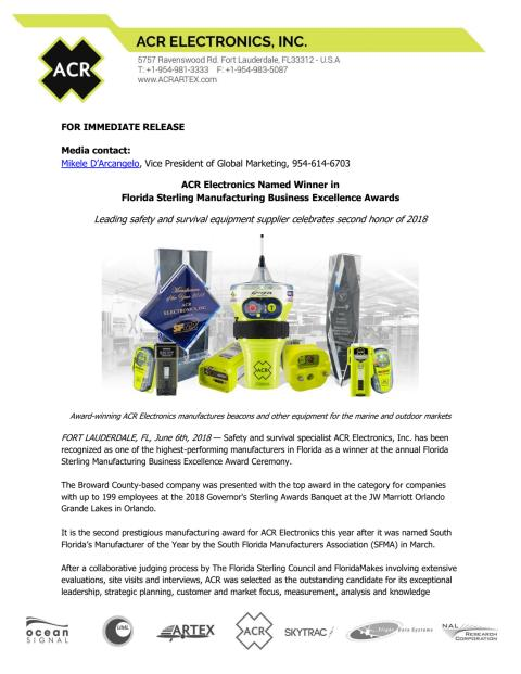 ACR Electronics Named Winner in  Florida Sterling Manufacturing Business Excellence Awards