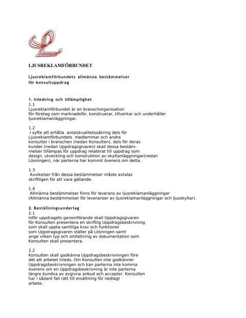 LJUSREKLAMFÖRBUNDET allmänna bestämmelser för konsultuppdrag