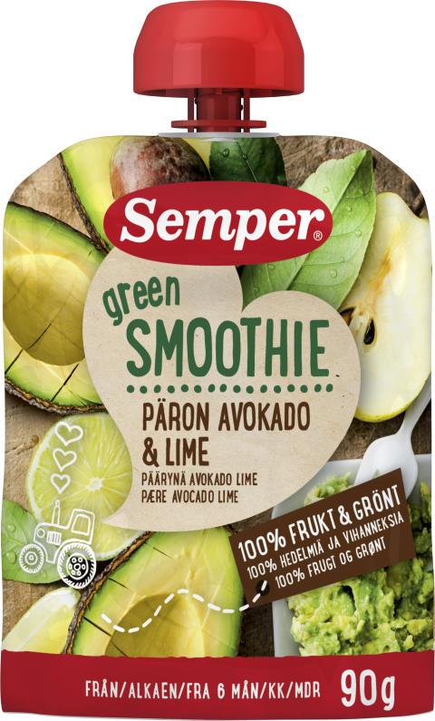 Green Smoothie med päron, avokado och lime