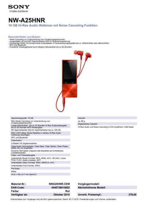 Datenblatt NWA25HNR von Sony