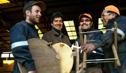Hele gruppen bag arbejdet (fra venstre): Thomas, Victor, Benjamin og Guillermo