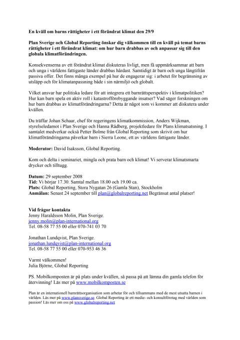En kväll om barns rättigheter i ett förändrat klimat den 29/9