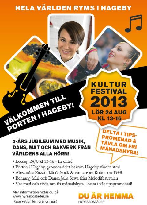 5-års jubileum för kulturfestivalen i Hageby med underhållning och smaker från alla världens hörn!