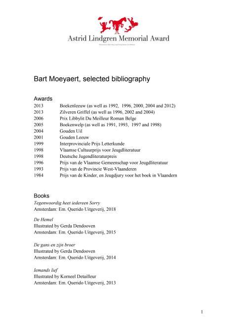 Bibliography Bart Moeyaert